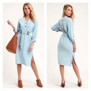 New Lulu's Gwendolyn Light Blue Belted Midi Dress